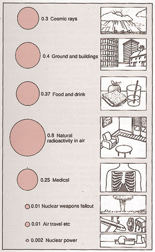 Sources of radiation in Britain, 1988