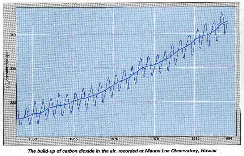 The build-up of carbon dioxide in the air, 1958-1984