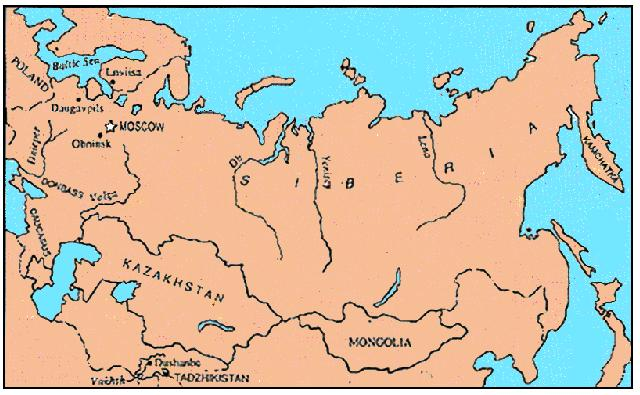 Map of the Soviet Union, 1990