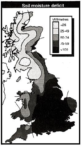 Moisture deficits, UK, 1990