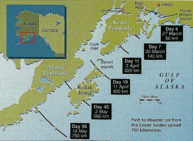 Oil spread from the Exxon Valdez