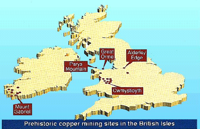 Prehistoric copper minning sites in the British Isles