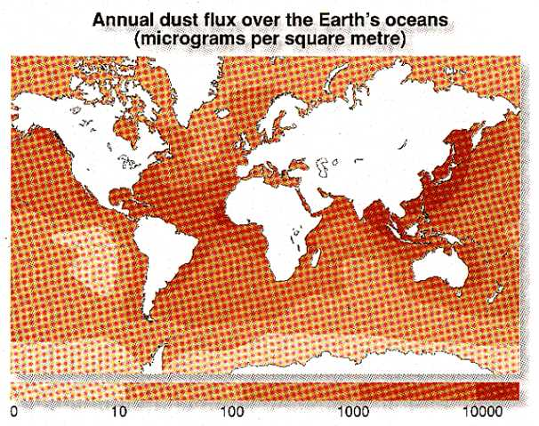 Annual dust flux over the oceans, 1994
