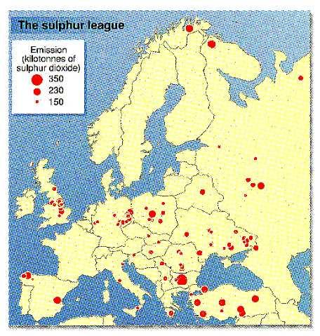 Sulphur emissions in Europe
