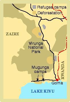 Map of Virunga Nat. Park in Zaire