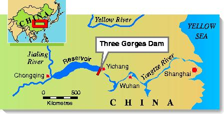 Site of Three Gorges Dam on Yangtze River