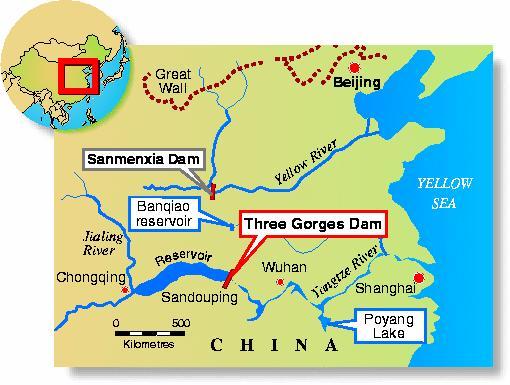 Map of Three Gorges Dam, China