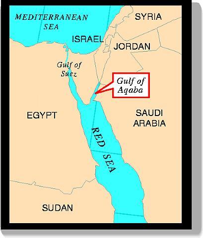 Location map of Gulf of Aqaba Red Sea