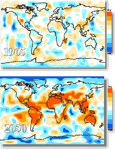 Model predictions for increasing drought and flood conditions