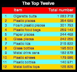 Top 12 items littering US beach