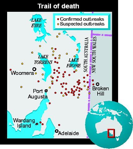 Map showing rabbit calicivirus outbreaks