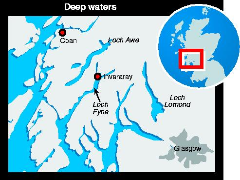 Map of waters around Loch Fyne, Scotland