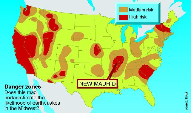 Earthquake danger zones in the US