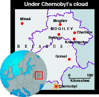 Map of Chernobyl's cloud effect