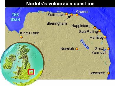 Map showing Norfolk's crumbling coastline