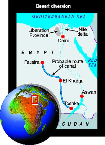 Map showing possible Nile irrigation route