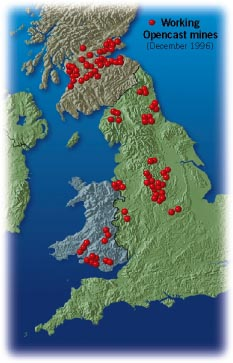 Locations of working open cast mines in Britain