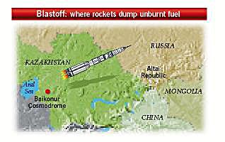 Where rockets dump unburnt fuel
