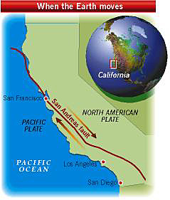Location map showing San Andreas fault