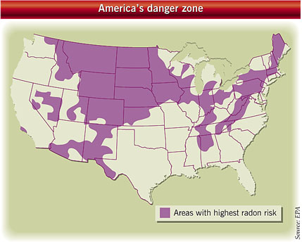 Map showing areas of risk from radon gas