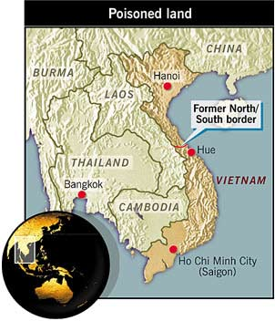 Map of Vietnam showing former border