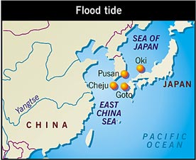 Reduced salt levels in the East China Sea/Sea of Japan