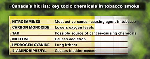 Toxic chemicals in tobacco smoke