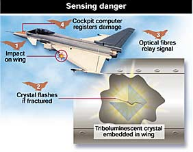 Device to detect aircraft wing damage