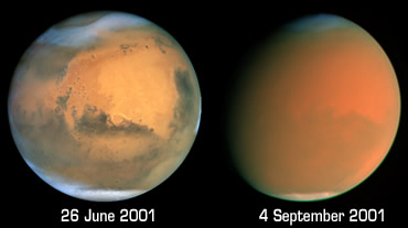 Dust storms cover the entire surface of Mars (Photo: NASA)