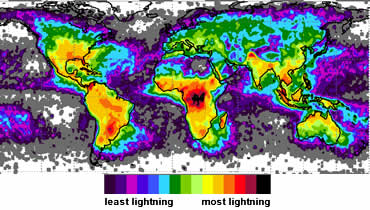 First Complete World Map Of Lightning Activity New Scientist - Us lightning map