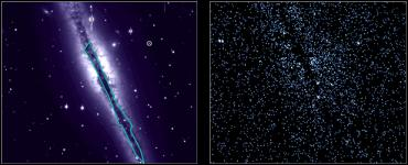 The galaxy in the optical image (left) casts an X-ray shadow (outlined), revealed in the Chandra image (right), and shows there must be an extended X-ray source behind it (Credit: NASA/CXC/U.Mich./J.Bregman & J.Irwin)