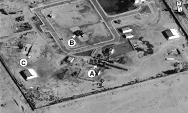 The Al-Rafah site. The dossier says a new missile engine test stand (A) is larger than that for engines of 150km range missiles (B) or SCUD missiles (C – dismantled by UNSCOM).