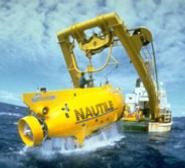 Nautile is deployed from a support ship