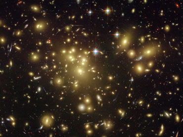The gravity of the cluster's trillion stars and dark matter acts as a two-million-light-year-wide lens