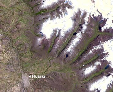 The city of Huaraz lies at the end of several valleys headed by glacial lakes