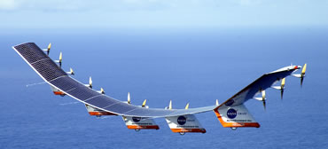 Solar panels stretch across Helios's 130-metre wingspan