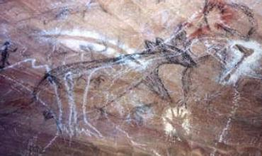 One of the images is of a wombat, rarely seen in other Australian cave art