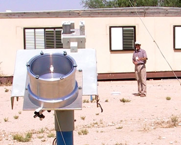 One of the Ben Gurion team shines the solar-powered tool at the camera