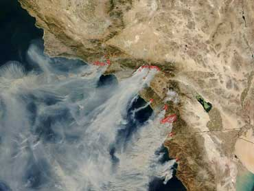 Major fires are burning from north of Los Angeles (centre) to the Mexican border