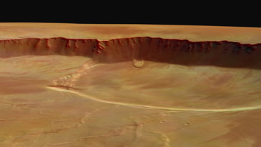 The steep inside wall of the caldera on Olympus Mons is three kilometres high