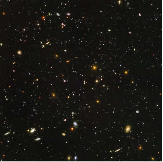 Click on the picture for a view of the whole image (Credit: NASA, ESA, S Beckwith (STScI) and HUDF Team)