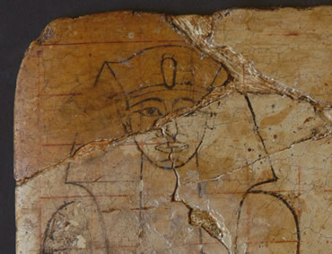 The red lines painted across the picture suggest it was the template for a carving
