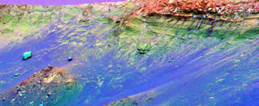 This false-colour image shows the mineral changes in the rim Endurance crater. It shows basalts (blue), mixed iron oxide and basalt (dark green) and dust containing sulphates (yellow and red).
