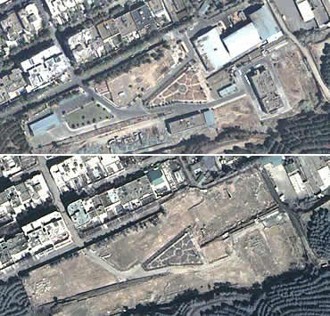 The top image was taken 11 August 2003, the lower image on 22 March 2004