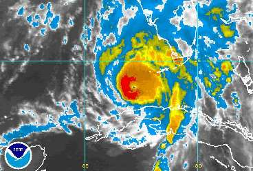 An infrared satellite image taken at 1015 BST on Friday shows Hurricane Charley between Cuba and Florida