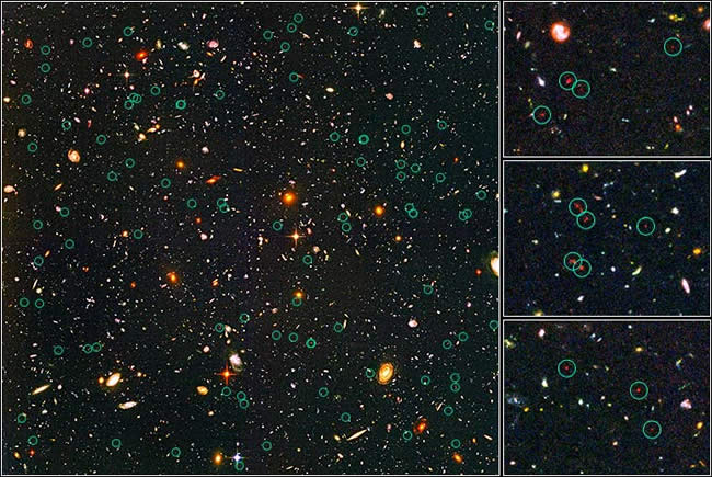 The galaxies and other faint objects being examined are circled in this image. Click to enlarge.