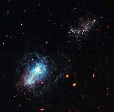 A nearby galaxy burst into life billions of years after most of its peers