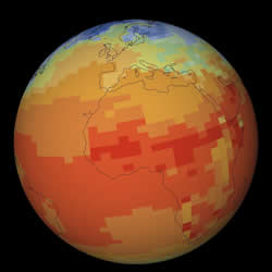 The climate modelling software divides the Earth's surface into boxes hundreds of kilometres square