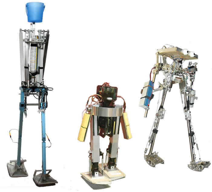 The walking robots made by (from left to right) Delta, MIT and Cornell stride like humans