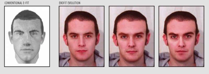 Rather than piece a likeness together – as in a conventional E-Fit (left) – the Evo-Fit evolves a likeness in a series full-face stages